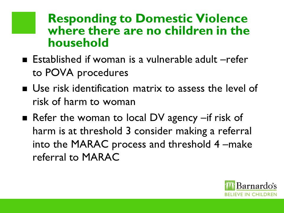 Responding to Domestic Violence where there are no children in the household