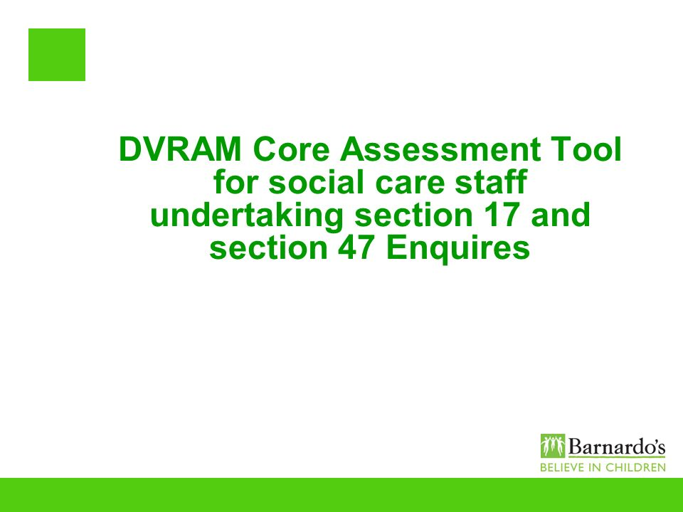 DVRAM Core Assessment Tool for social care staff undertaking section 17 and section 47 Enquires