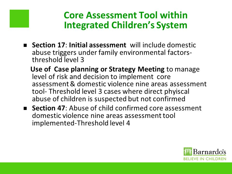 Core Assessment Tool within Integrated Children's System