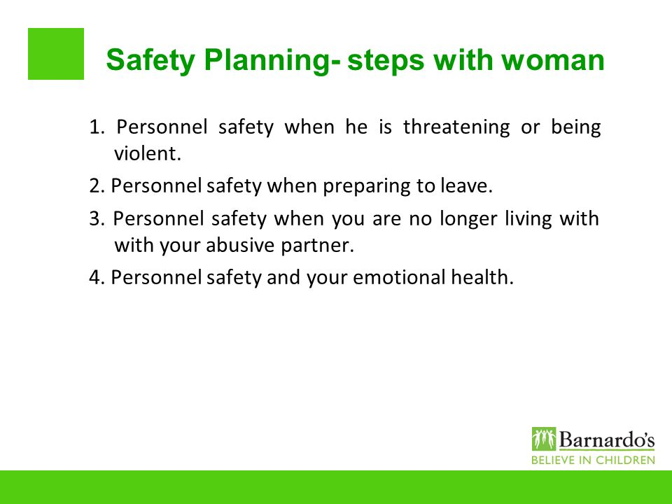 Safety Planning- steps with woman
