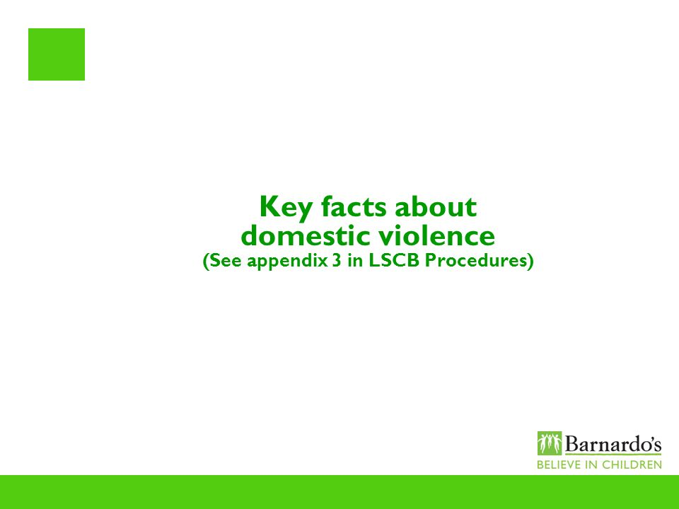Key facts about domestic violence (See appendix 3 in LSCB Procedures)