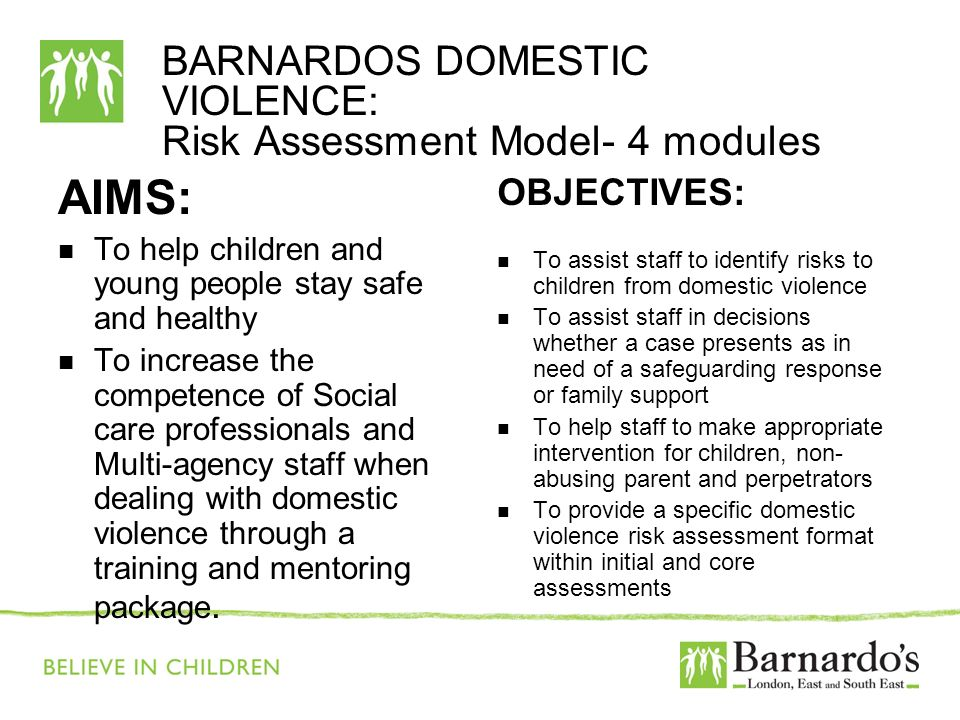 BARNARDOS DOMESTIC VIOLENCE: Risk Assessment Model- 4 modules