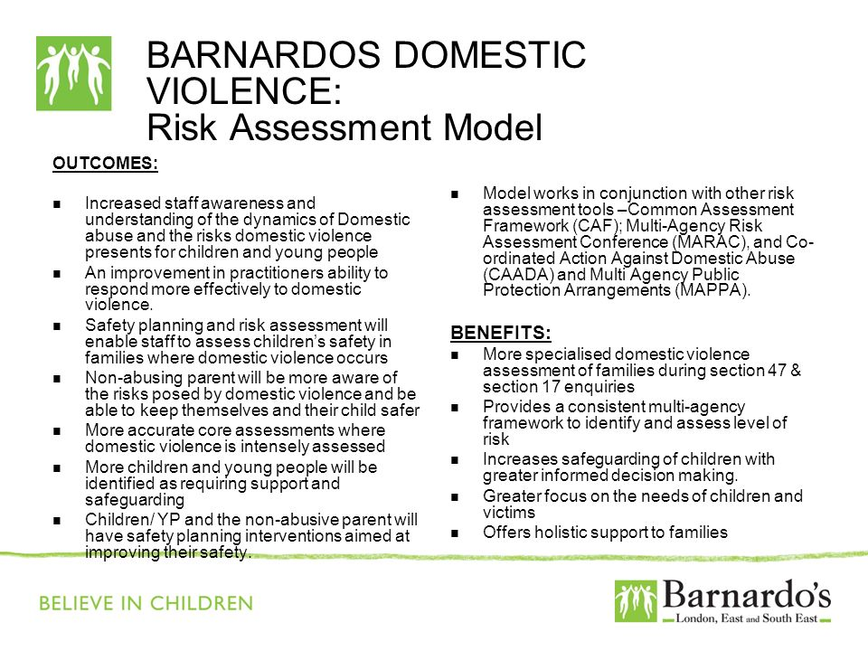 BARNARDOS DOMESTIC VIOLENCE: Risk Assessment Model