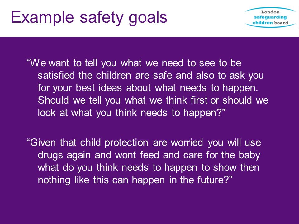 Example safety goals
