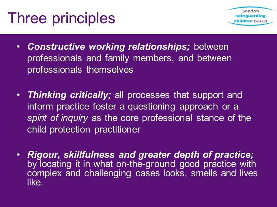Three principles Constructive working relationships; between professionals and family members, and between professionals themselves.