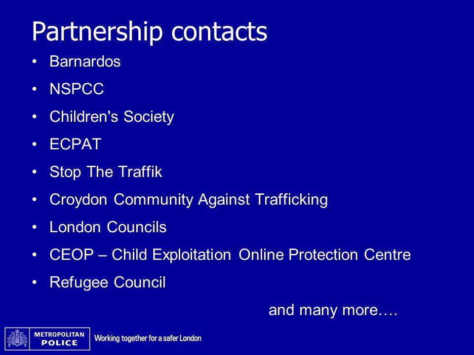 Partnership contacts Barnardos NSPCC Children s Society ECPAT
