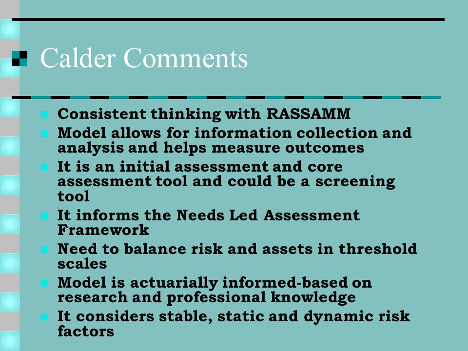 Calder Comments Consistent thinking with RASSAMM