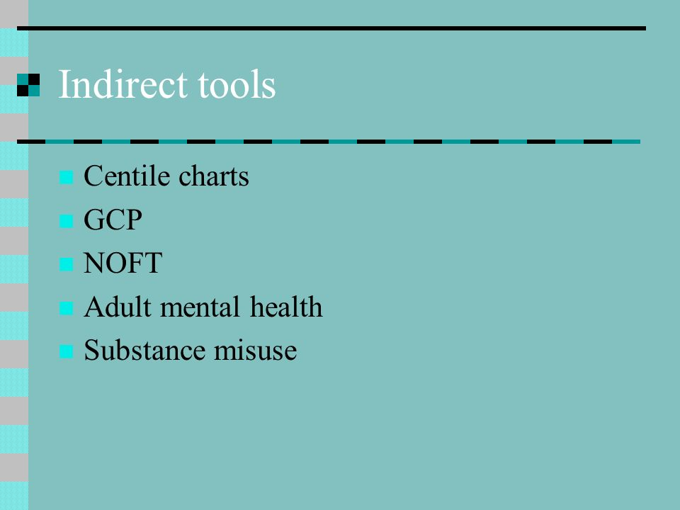 Indirect tools Centile charts GCP NOFT Adult mental health