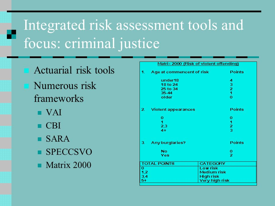 Integrated risk assessment tools and focus: criminal justice