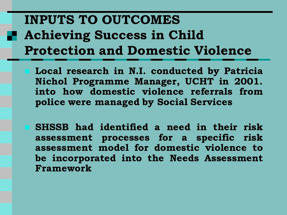 INPUTS TO OUTCOMES Achieving Success in Child Protection and Domestic Violence