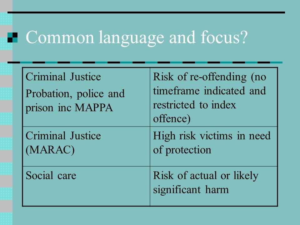 Common language and focus