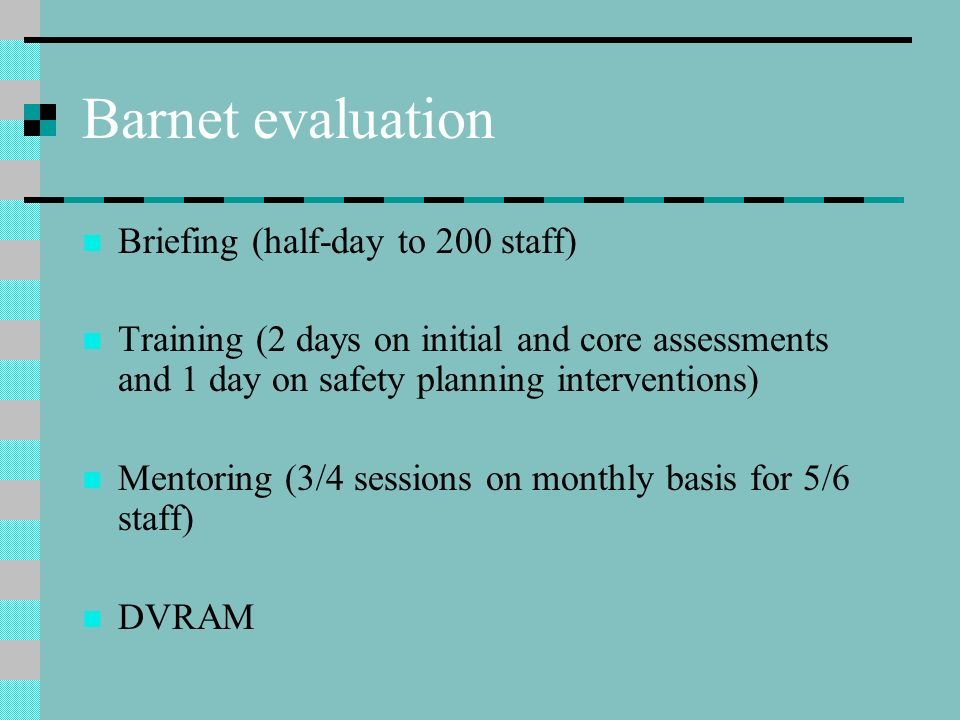 Barnet evaluation Briefing (half-day to 200 staff)