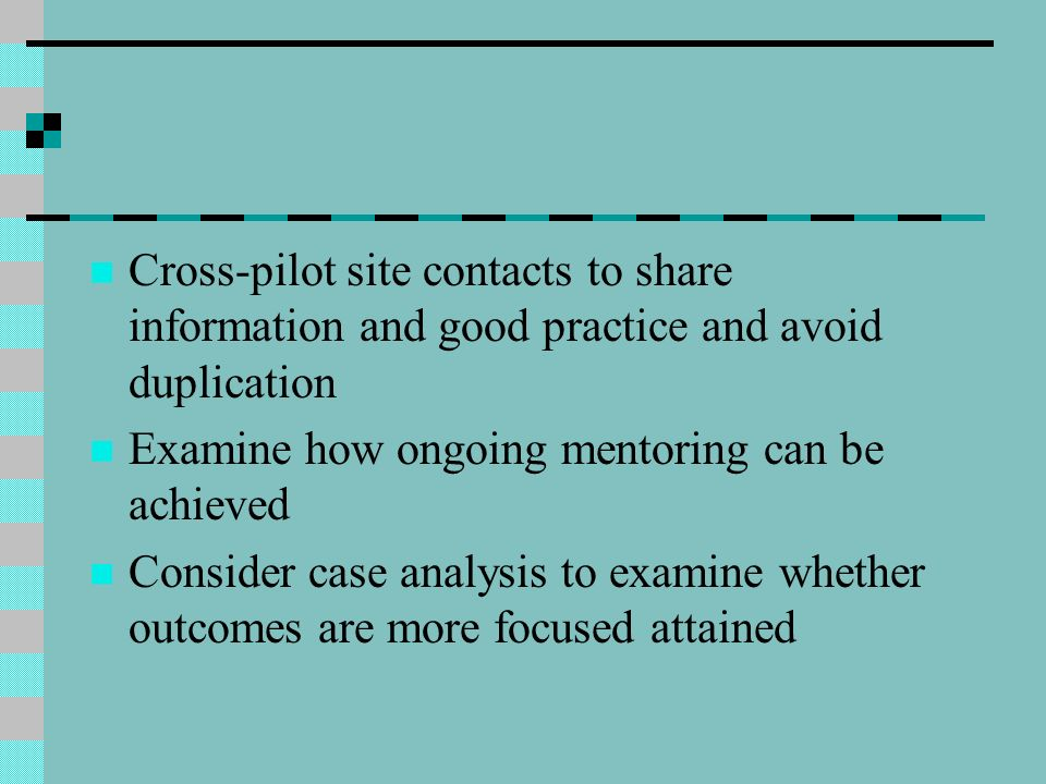 Cross-pilot site contacts to share information and good practice and avoid duplication