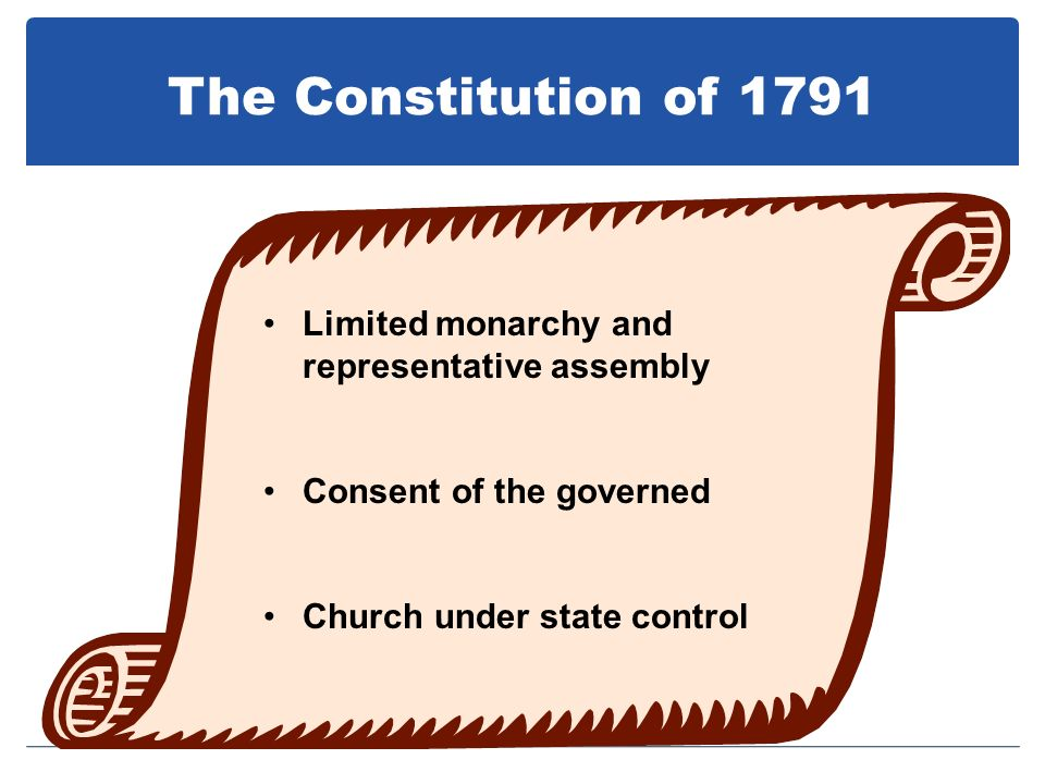 The Constitution of 1791 Limited monarchy and representative assembly
