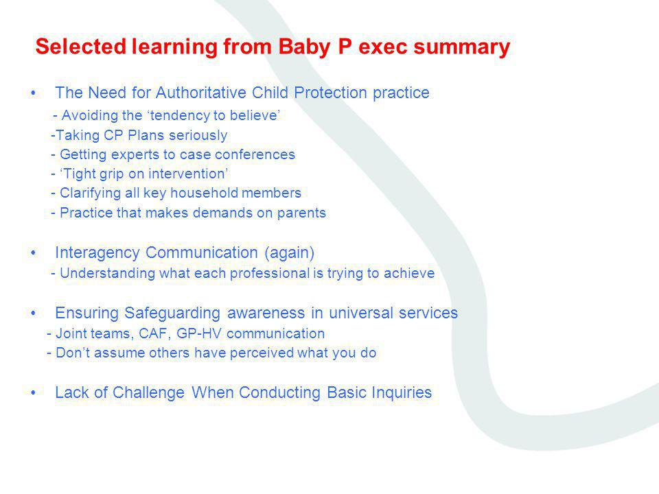 Selected learning from Baby P exec summary
