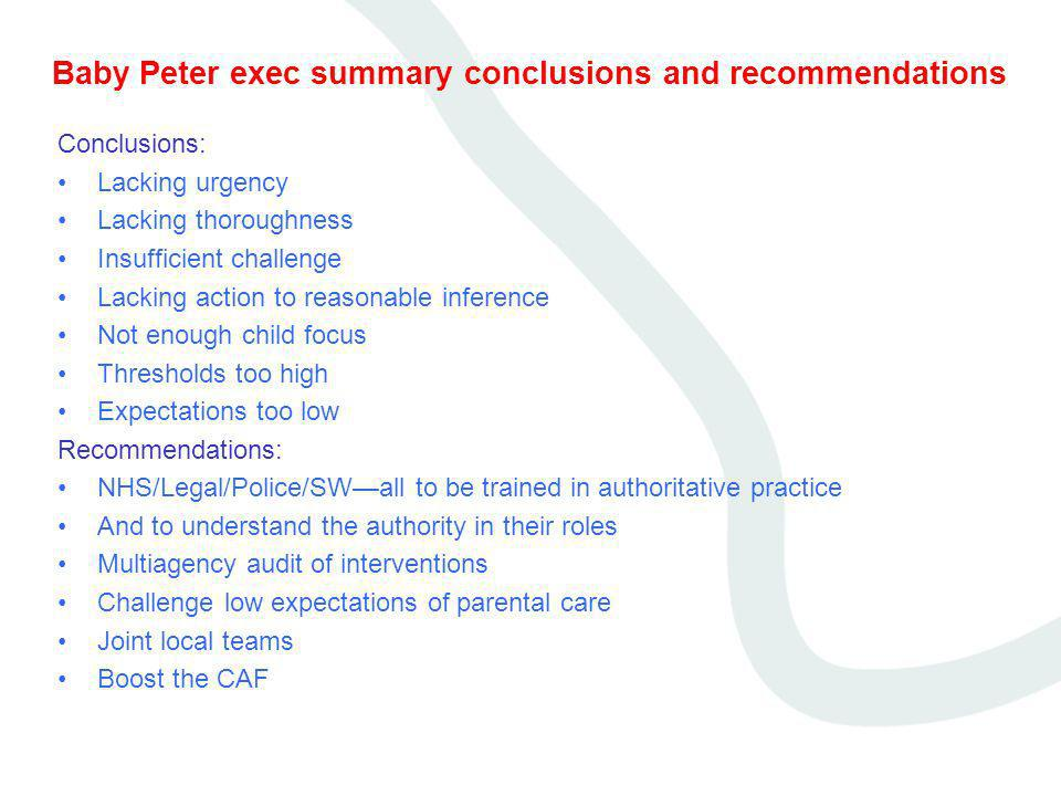 Baby Peter exec summary conclusions and recommendations