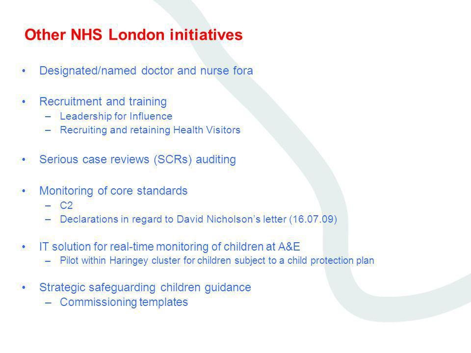 Other NHS London initiatives