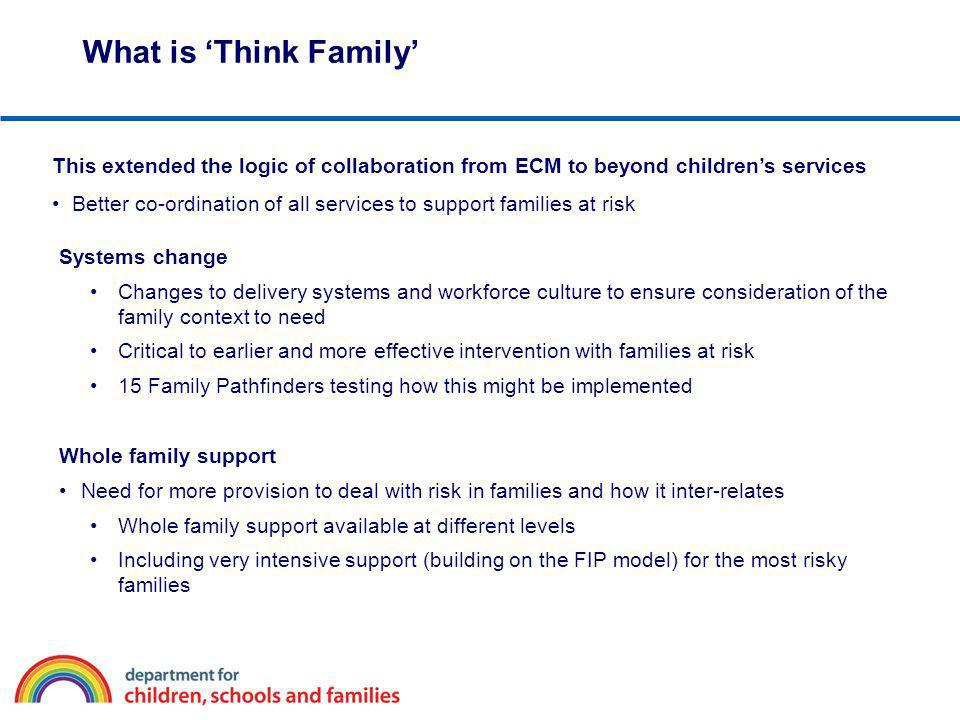 What is 'Think Family' This extended the logic of collaboration from ECM to beyond children's services.