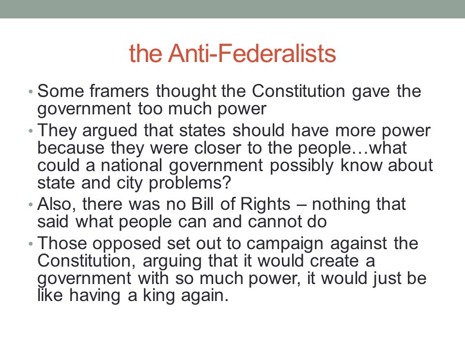 government gave too much power The issues involving the virginia plan gave too much power to the national government have been a popular topic amongst scholars for many years the.
