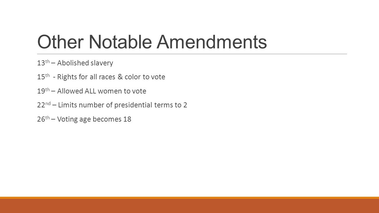 Other Notable Amendments