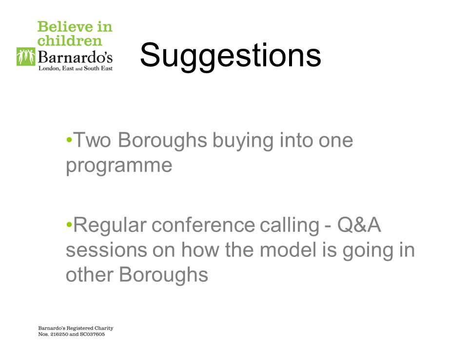 Suggestions Two Boroughs buying into one programme
