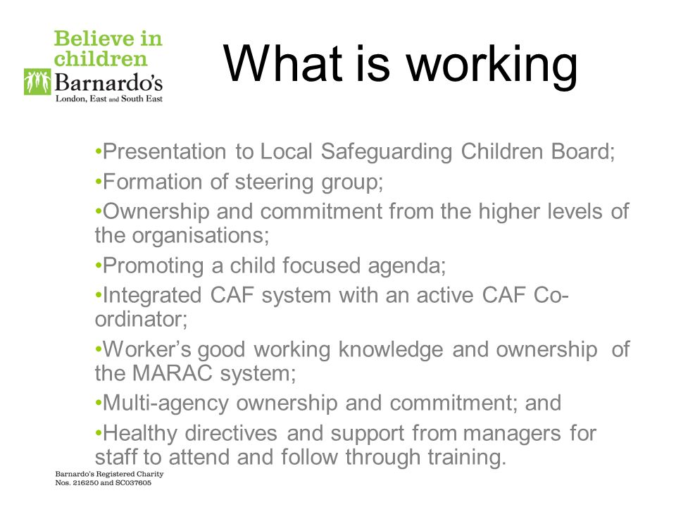 What is working Presentation to Local Safeguarding Children Board;