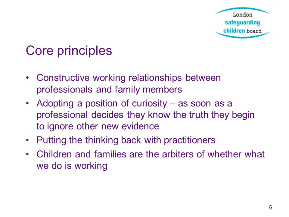 Core principles Constructive working relationships between professionals and family members.