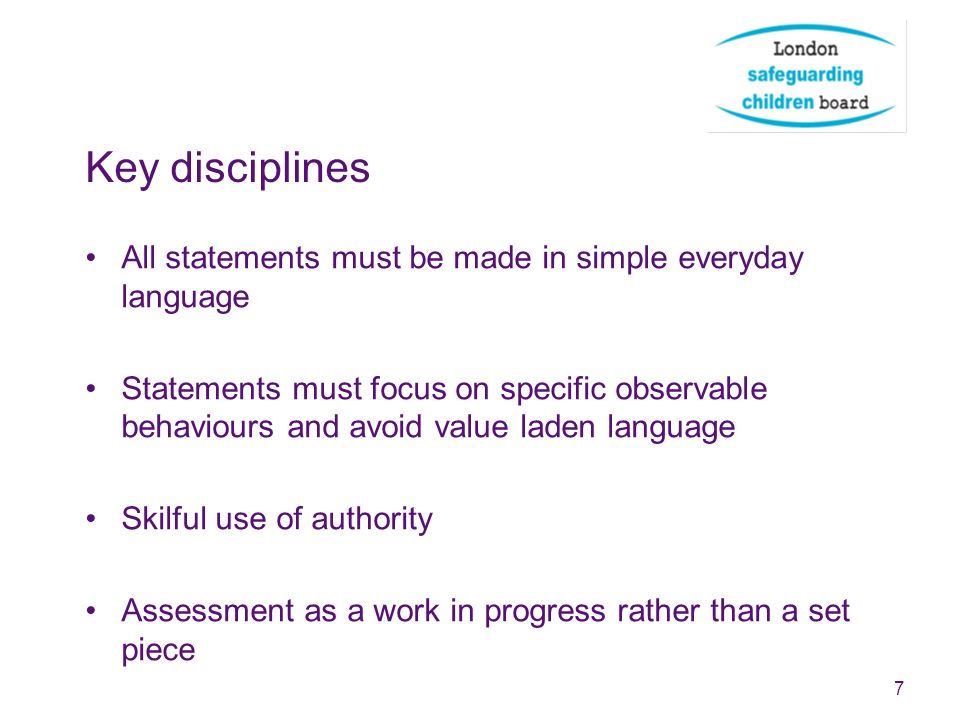 Key disciplines All statements must be made in simple everyday language.