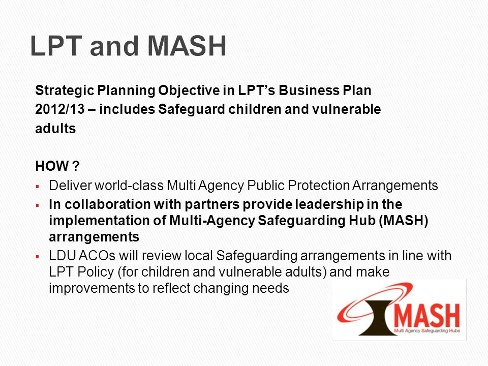 LPT and MASH Strategic Planning Objective in LPT's Business Plan