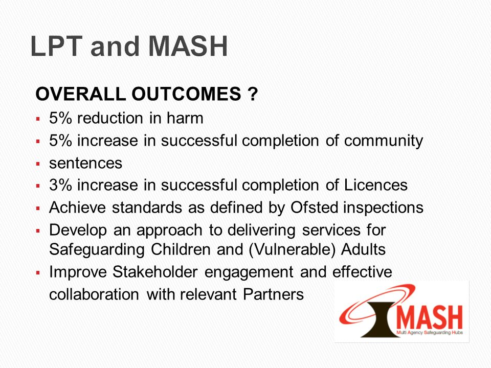 LPT and MASH OVERALL OUTCOMES 5% reduction in harm