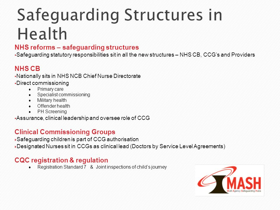 Safeguarding Structures in Health