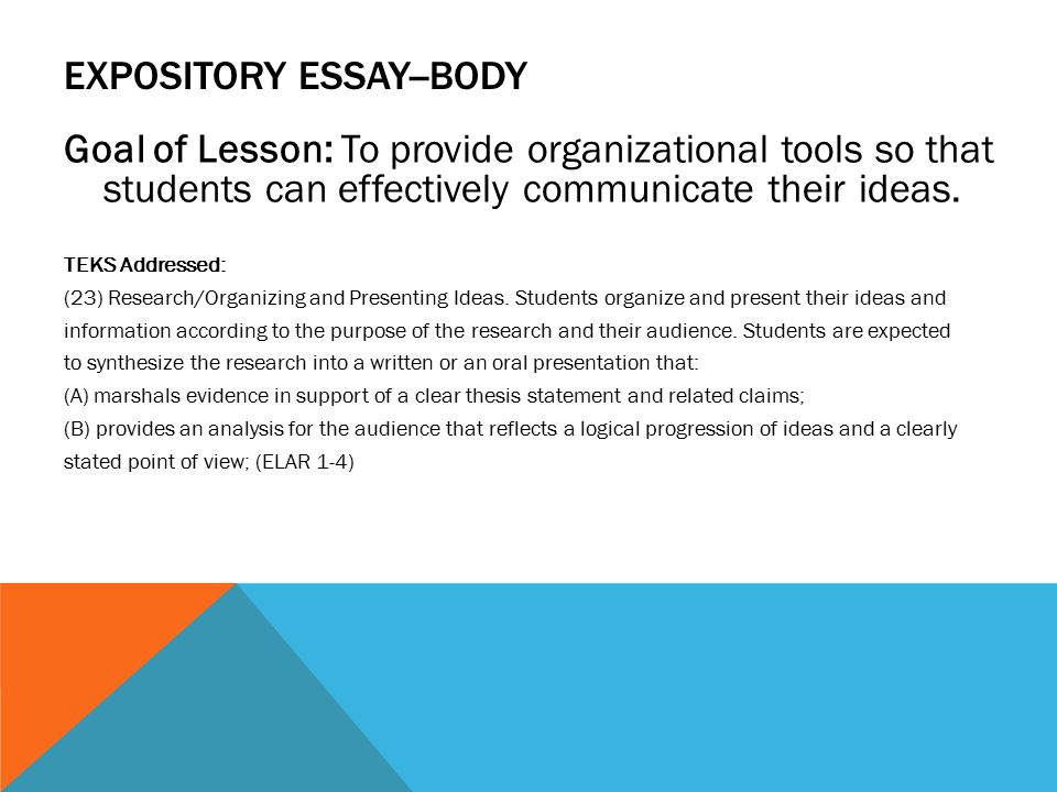 body of an expository essay Having troubles composing an expository essay then be sure to read this  expert-written tutorial that can help you write a good body part of your essay.