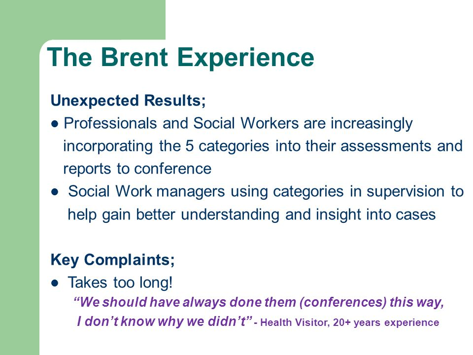 The Brent Experience Unexpected Results;
