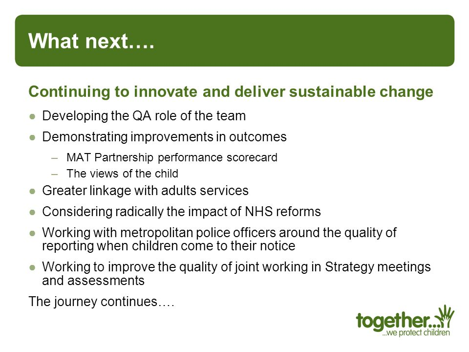 What next…. Continuing to innovate and deliver sustainable change