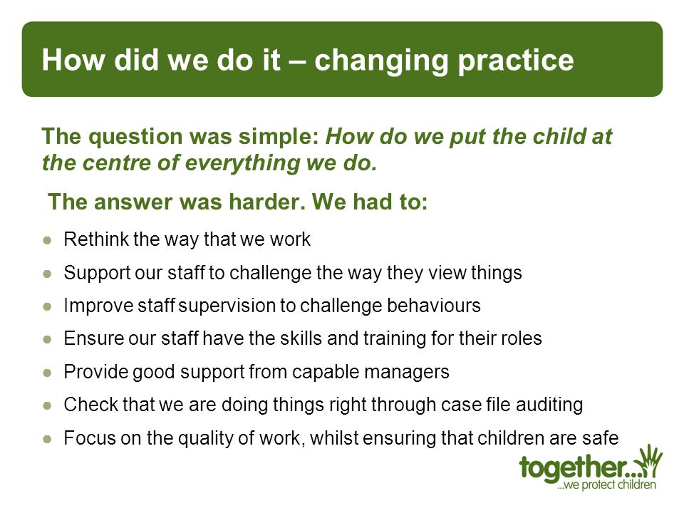 How did we do it – changing practice
