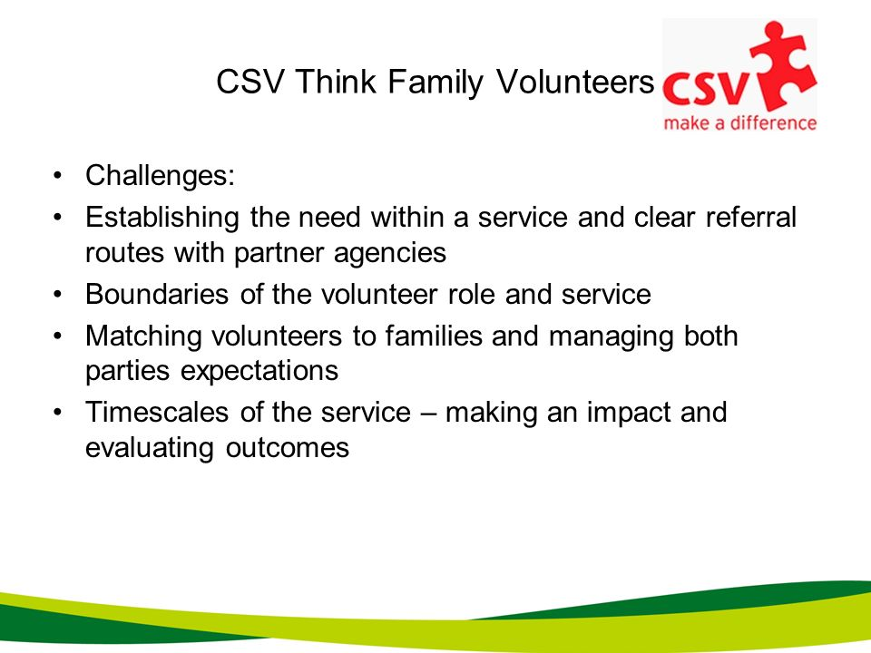 CSV Think Family Volunteers