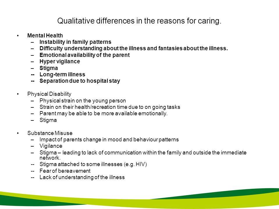 Qualitative differences in the reasons for caring.