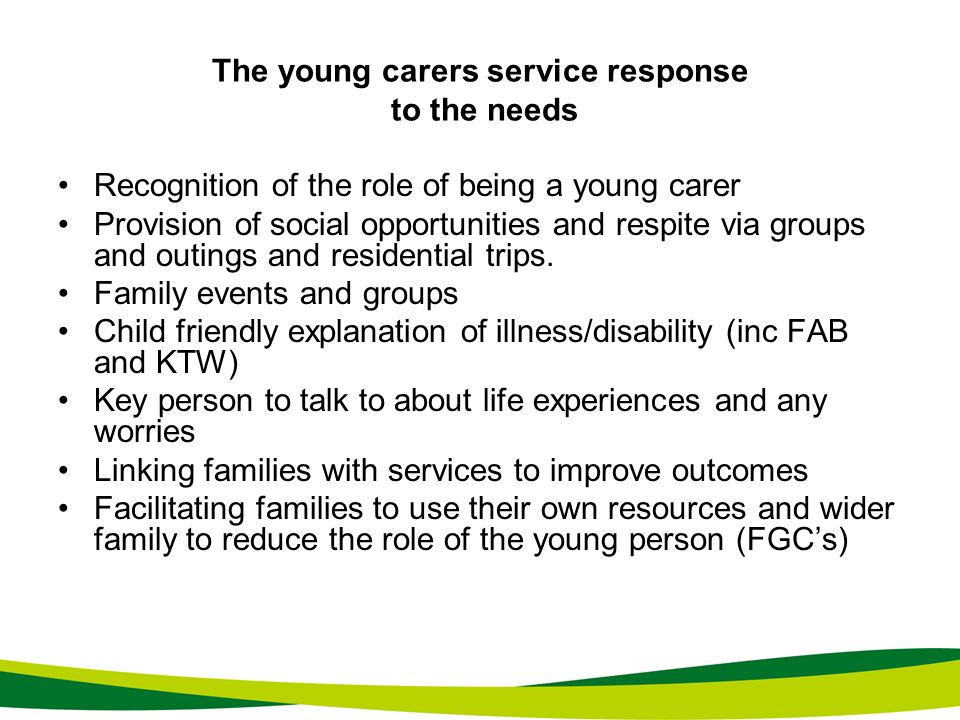 The young carers service response to the needs