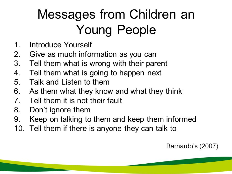 Messages from Children an Young People
