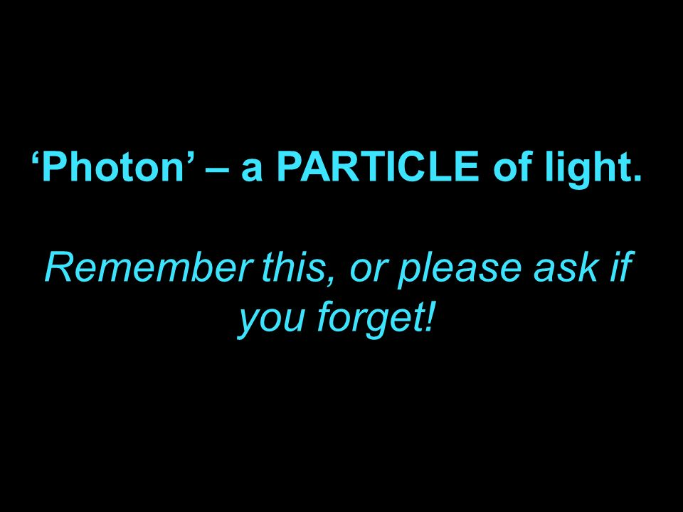 'Photon' – a PARTICLE of light