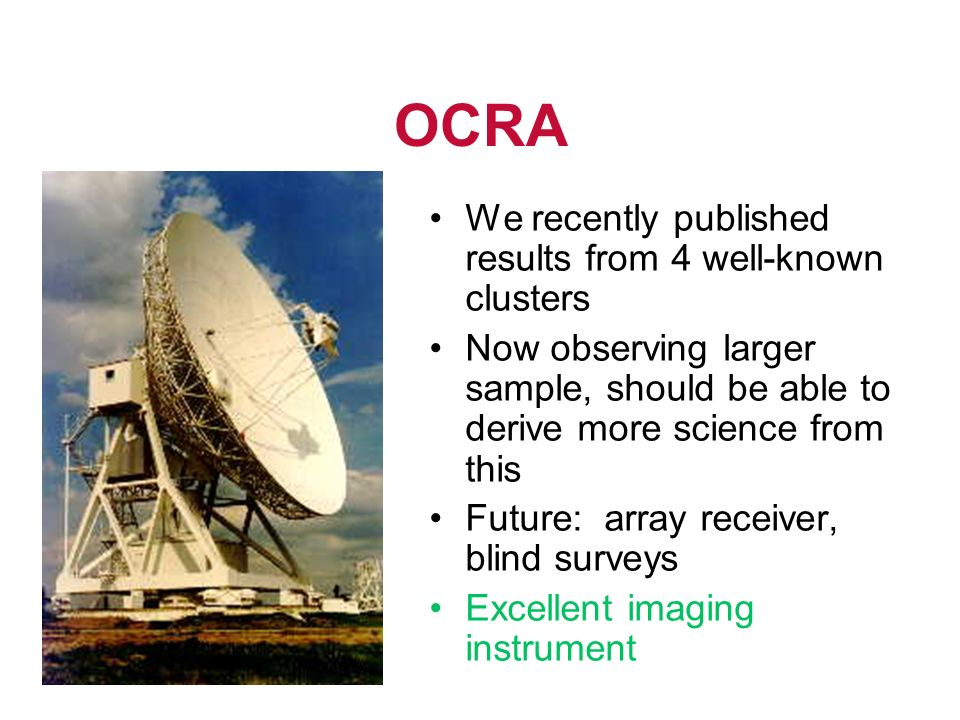 OCRA We recently published results from 4 well-known clusters