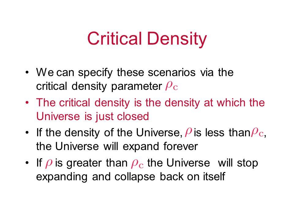 Critical Density We can specify these scenarios via the critical density parameter.