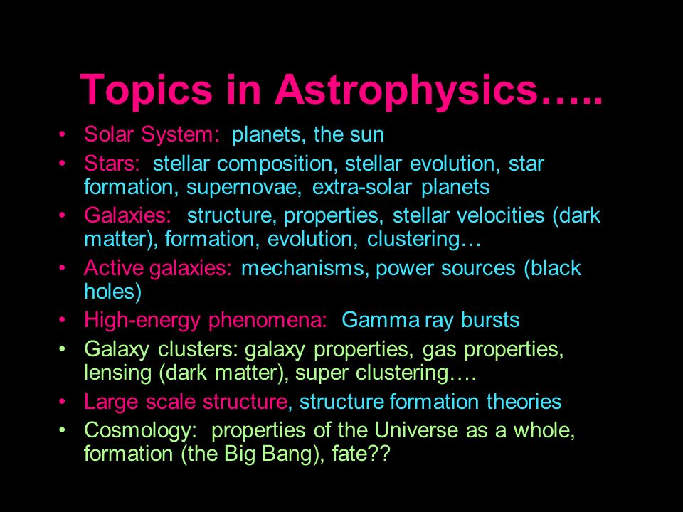 Topics in Astrophysics…..