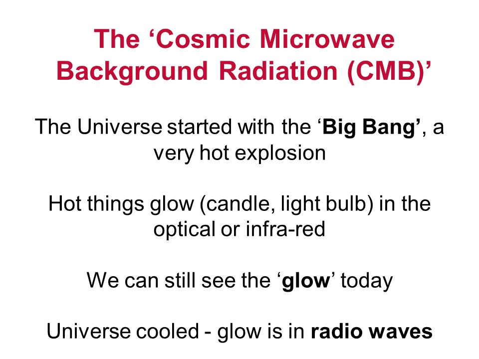 The 'Cosmic Microwave Background Radiation (CMB)'