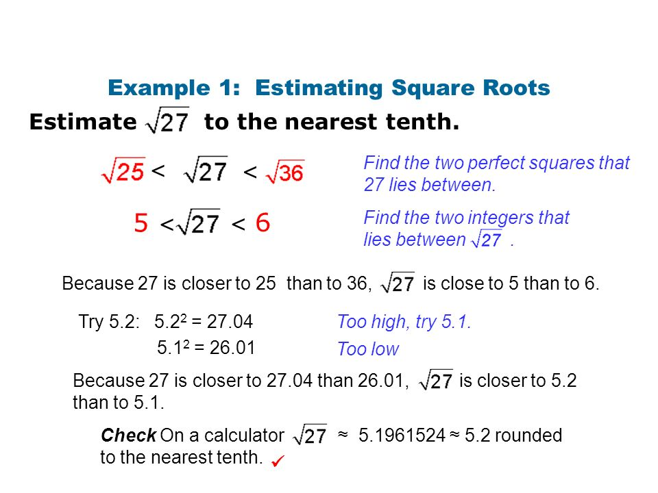 Example 1: Estimating Square Roots