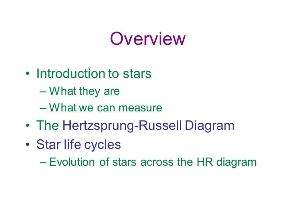 Overview Introduction to stars The Hertzsprung-Russell Diagram