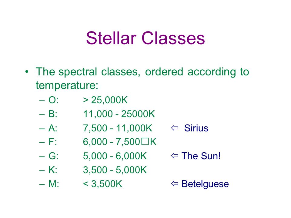 Stellar Classes The spectral classes, ordered according to temperature: O: > 25,000K. B: 11,000 - 25000K.