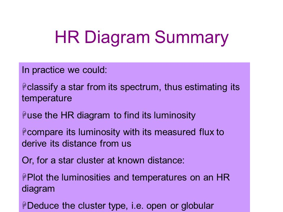 HR Diagram Summary In practice we could: classify a star from its spectrum, thus estimating its temperature.