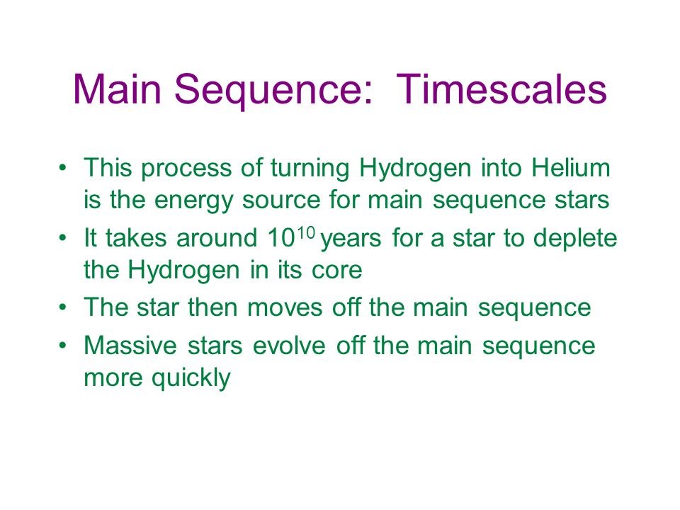 Main Sequence: Timescales