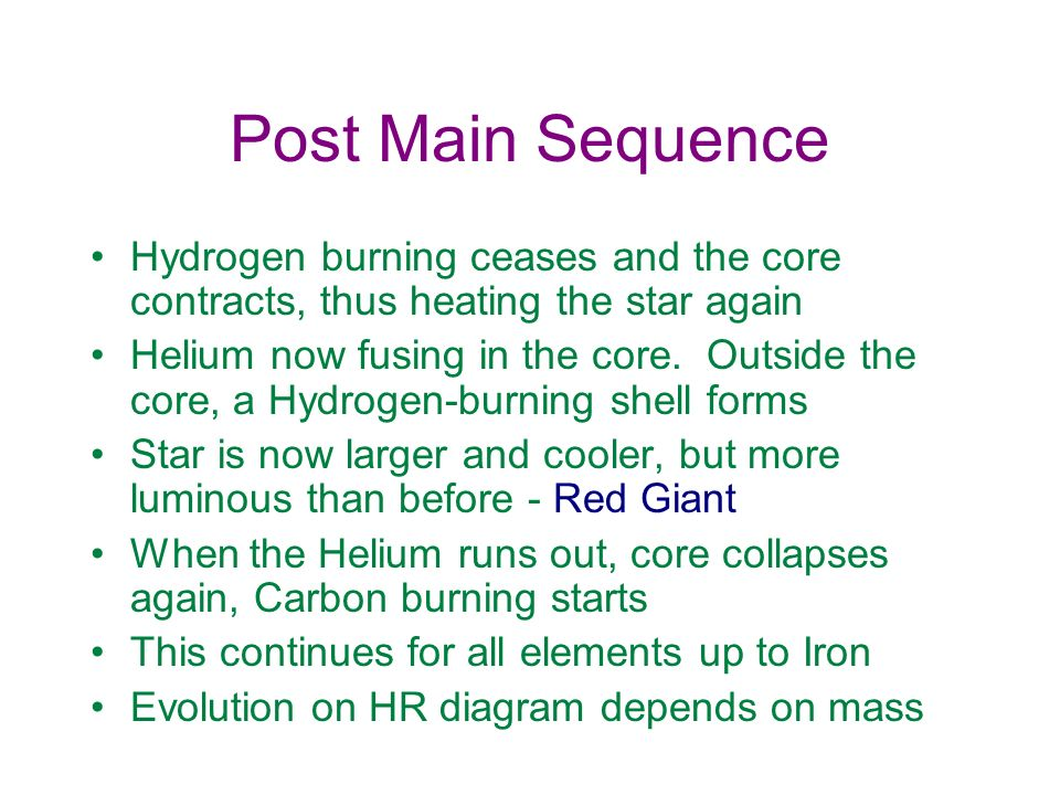 Post Main Sequence Hydrogen burning ceases and the core contracts, thus heating the star again.